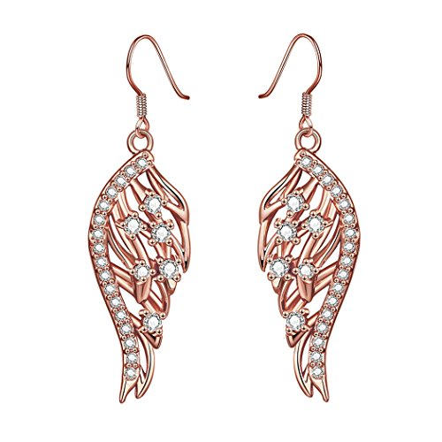 Duo La Unique Elegant Angel Wings Cubic Zirconia 18k Rose Gold Plated Lady Dangle Earrings (Wella Pro Series compare prices)