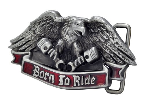 Buckle Rage Silver Eagle Motorcycle Born To Ride Biker Belt Buckle Metal Red American One Size