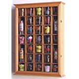 31-Shot Glass, Shooter Display Case Holder Cabinet , Oak