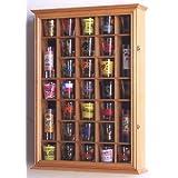 31-Shot Glass, Shooter Display Case Holder Cabinet , Oak