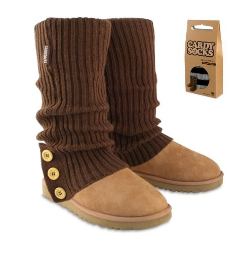 Cardy Socks for tall boots, Chocolate