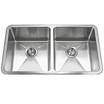 Houzer NOD-4200 Nouvelle Series 25mm Radius Undermount Stainless Steel 50/50 Double Bowl Kitchen Sink