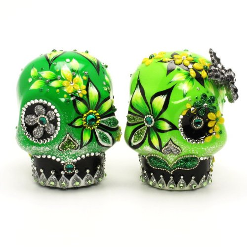 El Dia De Los Muertos Wedding Cake Toppers Day Of The Dead A00081 Gothic Wedding Calavera Ceramic Handmade