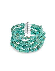 Bling Jewelry Sterling Silver Simulated Turquoise Gemstone Five Strand Nugget Bracelet 8in