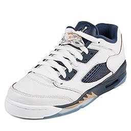 Nike Jordan Kids Air Jordan 5 Retro Low (GS) White/Metallic Gold/Mid Navy Basketball Shoe 6.5 Kids US