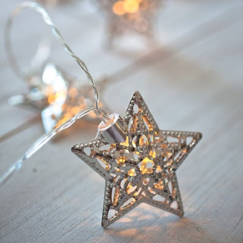 Velice Battery Operated Warm White LED Fairy Lights 10 Metal Star String Decoration Light for ...