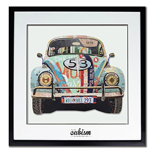 cubism Wall Art Vintage Cars Art Green In Winter Painting Print On Paper with Black PS Frame Glass Cover The Picture For Home Modern Decoration Size 26x26,Ready To Hang