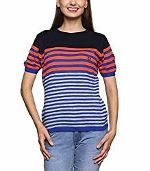 Leebonee Women's Acrylic Half Sleeve Light Royal Blue Sweater