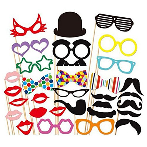 31 Pcs DIY Colorful Photo Booth Props On A Stick Mustache Bearded Lips For Fun Wedding Favor Christmas Birthday Party Favor (Star Wars Blowers compare prices)