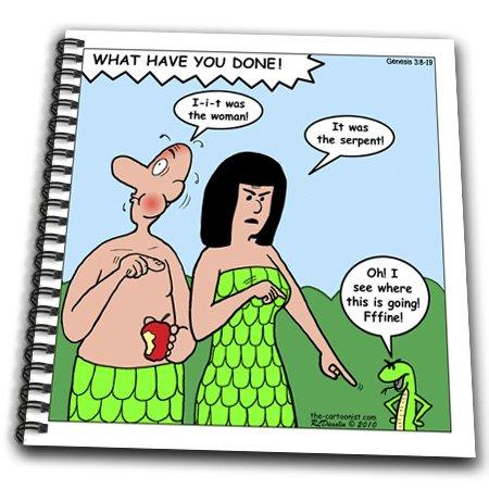 Db_19475_1 Rich Diesslin The Cartoon Old Testament - Genesis 3 8 19 The Blame Game Bible Genesis 3 8 19 Adam Eve Man Woman Serpent Snake Garden Apple - Drawing Book - Drawing Book 8 X 8 Inch