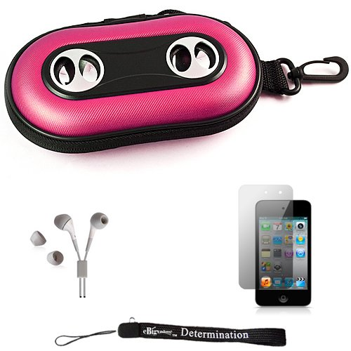Pink Portable Hard Case Cover Shell With Integrated Speakers For New Apple Ipod Touch 4 ( 4Th Generation 8Gb 16Gb 32Gb ) + Includes Anti Glare Screen Protector Guard + Includes High Quality Hd Noise Filter Earphones