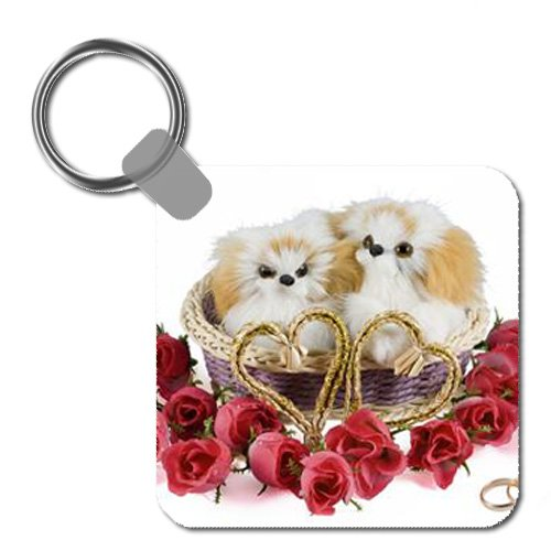 Two Dogs in a Valentine's Day Basket Keychain