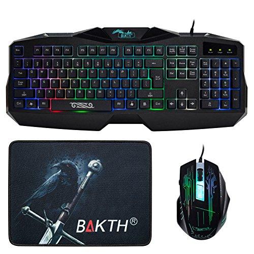 BAKTH Adjustable Wired Illuminated LED Rainbow Backlit USB Gaming Keyboard and Mouse Combos Bundle + BAKTH Customized Large Mouse Mat