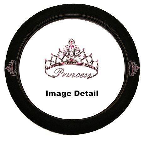 Pink Princess w/ Cute Crown Gem Crystal Studded Rhinestone Bling Car Truck SUV Steering Wheel Cover (Princess Car Steering Wheel Cover compare prices)