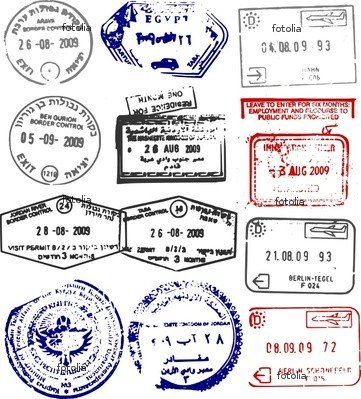 Wallmonkeys Peel and Stick Wall Graphic - Vector Passport Stamps from Europe and the Middle East - 48