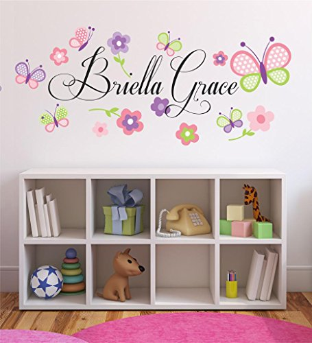 Flowers-and-Butterflies-Personalized-Custom-Name-Childrens-Nursery-Printed-Vinyl-Wall-Decal-PLUS-FREE-12-WHITE-HELLO-DOOR-DECAL-Girl-Name-Wall-Decal-Girls-Name-Decal-Wall-Decor-Butterfly-Decals