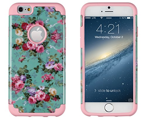 "iPhone 6, DandyCase 2in1 Hybrid High Impact Hard Vintage Sea Green Floral Pattern + Pink Silicone Case Cover for Apple iPhone 6 (4.7"" screen) + DandyCase Screen Cleaner"