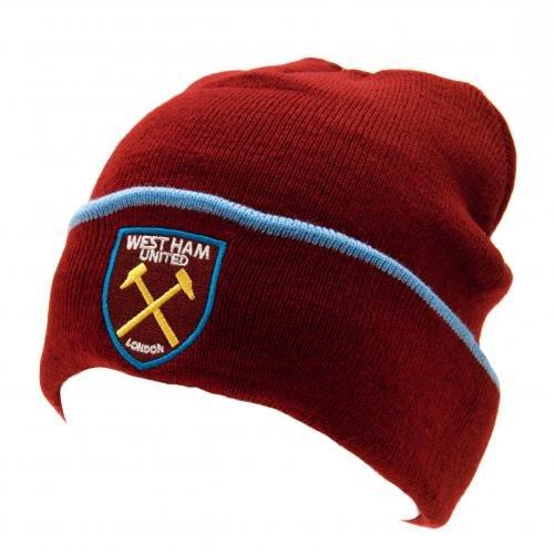 West Ham Bordeaux Blu Beanie Maglia Alzare Il Cappello Nuovo Stemma Distintivo