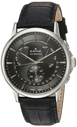 Edox-Mens-Les-Bemonts-Swiss-Quartz-Stainless-Steel-and-Leather-Dress-Watch-ColorBlack-Model-01602-3-NIN
