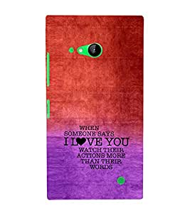 EPICCASE Someone says Love You Mobile Back Case Cover For Nokia Lumia 730 (Designer Case)
