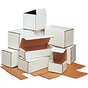 "5"" x 4"" x 4"" White Lightweight Light Shipping Corrugated Mailer Mailing Postal Boxes 50 Pc"
