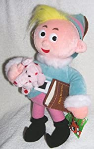 """1999 Rudolph Island of Misfit Toys 12"""" Large Plush Herbie or Hermey the Elf Doll with Spotted Elephant and book from CVS Stuffins"""