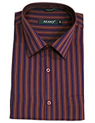 ARANY'S Premium Marron & Navy Blue Striped Slim Fit Formal Shirt For Men - F6841, SIZE-42