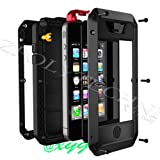 Newest Extreme Shockproof Dust/Dirt Proof Aluminum Metal Military Heavy Duty Protection Cover case for Apple iPhone 4 4S 5 5G Black White Silver Rose Pink Red Yellow Golden @XYG (4-black/black/red(iPhone4))