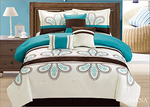Unique Home 7 Pieces Bedding Comforter Set Simple Floral Medallion on White with Solemn red Background with Pillow Sham Cushion Bed Skirt King