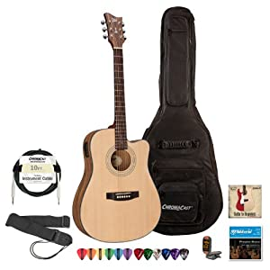 esp ltd xtone dc 6e natural satin acoustic electric guitar with gig bag cable. Black Bedroom Furniture Sets. Home Design Ideas