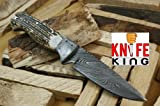 """MASSIVE SALE!!!!!"" Custom Damascus Handmade Hunting Knife. With Leather Sheath. Top Quality."