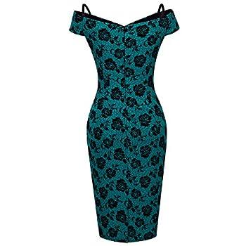 HOMEYEE Women's Vintage Elegant Printed Floral V-Neck Sling Dress B309