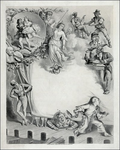 Photographic Print of Blank showcard with humorous illustrations from Mary Evans