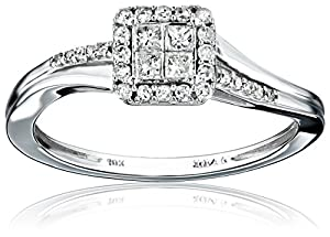 10k White Gold Diamond (1/4cttw, H-I Color, I2-I3 Clarity) Engagement Ring, Size 7 from The Aaron Group