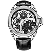 BUREI® Men's Stainless Steel Dress Watch with Black Leather Band