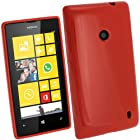 iGadgitz Red Glossy Durable Crystal Gel Skin (TPU) Case Cover for Nokia Lumia 520 Windows Smartphone Cell Phone + Screen Protector