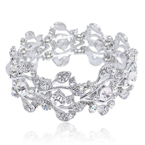 EVER FAITH® Bridal Silver-Tone Floral Leaf Elastic Bracelet Clear Austrian Crys…