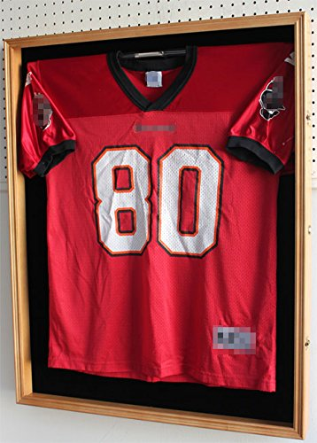 XX LARGE Football / Hockey Jersey Display Case Shadow Box Frame, Locks, with UV Protection Door (JC02-OA) (Oak Jersey Display Case compare prices)
