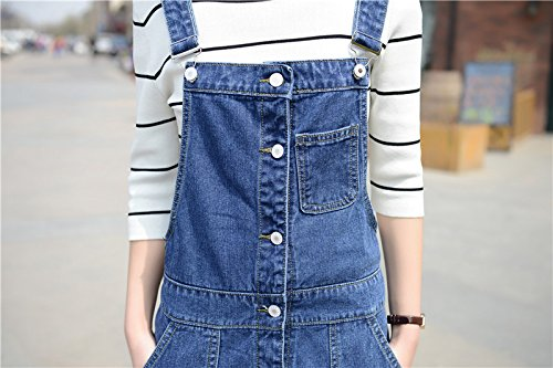 Skirt BL Women's Vintage Plus Size Blue Romper Denim Overall Jean Skirt Dress 1