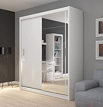 FADO large white mirrored 2 door wardrobe closet with sliding doors mirror shelves hanging clothes rail bedroom hallway furniture