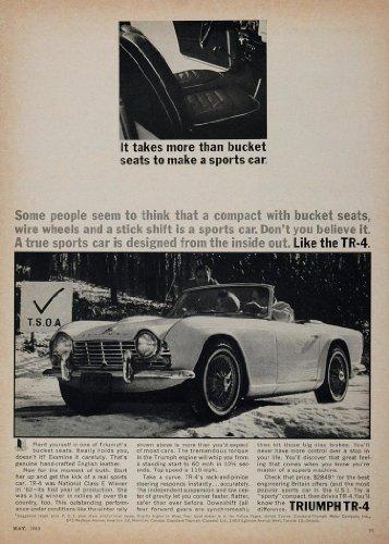 1963 Ad Triumph Tr-4 Compact Convertible Bucket Seats - Original Print Ad front-1050260