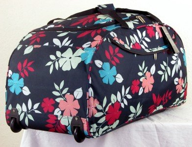 Womens Girls , AQUA Design 26inch With multi colour Flowers,Large Wheeled Holdall,Travel Luggage Holdall Weekend Bag, Maternity Bag, Hospital Bag, Baby Bag, School College Holdall, Sport Gym Bag.