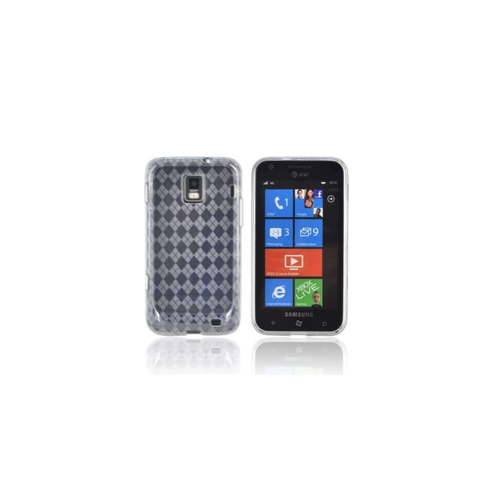 For Samsung Focus S i937 Argyle Transparent Clear TPU Crystal Gel Silicone Skin Case Cover