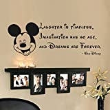 Laughter is timeless, imagination has no age... Tinkerball Quote Vinyl Wall Decal Walt Disney Sticker(Black, 8h x22w)