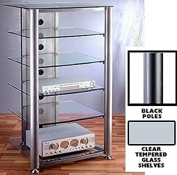 DO NOT SET LIVE!RGR Series Audio Rack Poles/Caps: Black, Glass Color: Clear, Number of Shelves: 6-Shelf