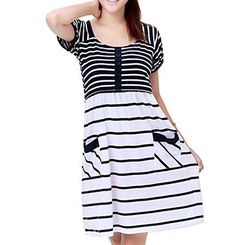 Maternity Nursing Women Striped Short Sleeve Dress Size M