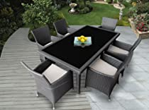 Big Sale Genuine Ohana Outdoor Patio Wicker Furniture 7pc All Weather Dining Set with Free Patio Cover