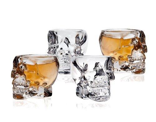 Klikel 239-4a Skull Shot Glass (Set of 4), Transparent