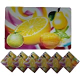 Positive Feeling Cool Relaxing 3D Printed Holographic Lemon Fruit Design Placemats For Table 6 Mats + 6 Coasters...