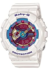 G-Shock Women's BA112 White w/ Multicolor Dial Watch